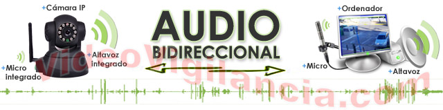 Audio bidireccional con micrófono y altavoz integrados.